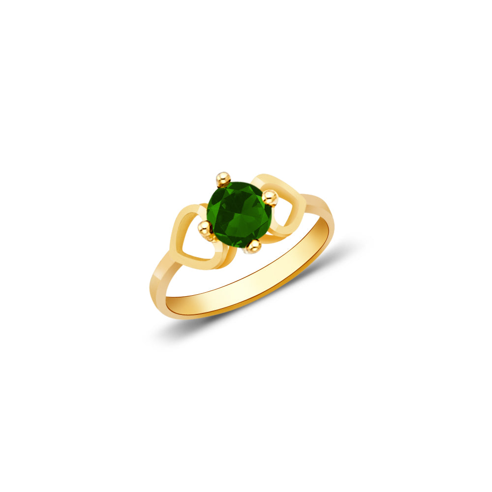 14K Yellow Solid Gold August Green Birth Stone Cubic Zirconia CZ Infant Baby Ring