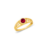 14K Yellow Solid Gold January Dark Red Birth Stone Cubic Zirconia CZ Infant Baby Ring