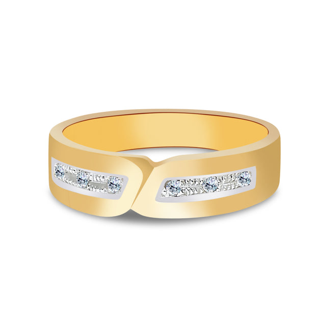14K Gold CZ Men's Wedding Band