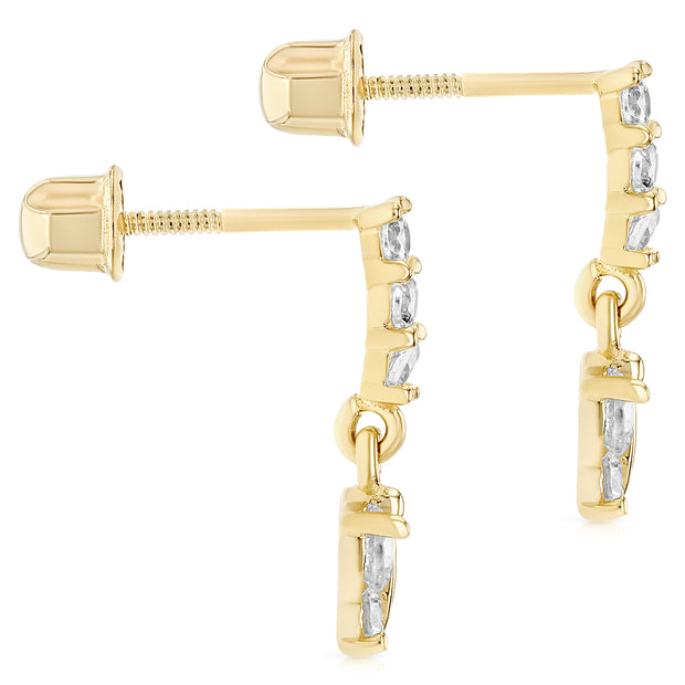 14K Gold CZ ButterFly Drop Stud Earrings