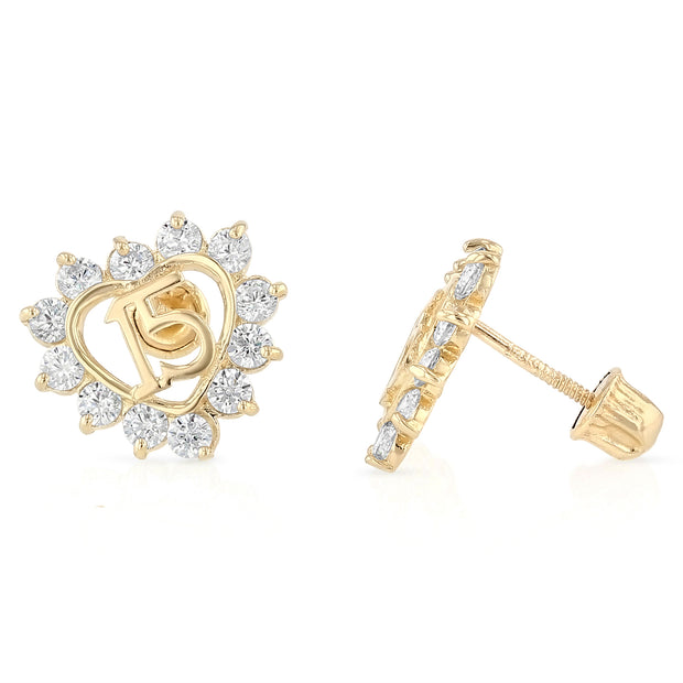14K Gold CZ Heart Quinceanera Stud Earrings
