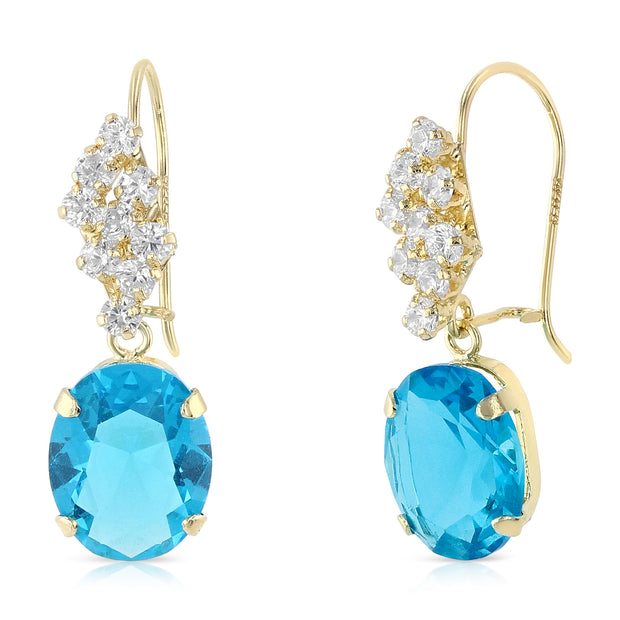 14K Gold CZ Oval Drop Hanging Earrings