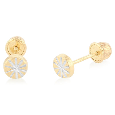 14K Gold Diamond Cut Circle Stud Earrings