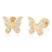 14K Gold CZ Butterfly Stud Earrings for child/women
