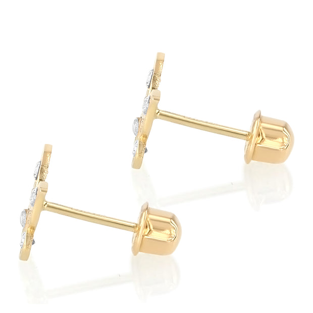14K Gold CZ Butterfly Stud Earrings