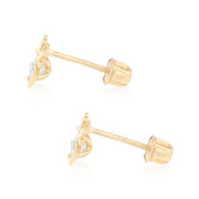 14K Gold Star Cut CZ Cute Tiny Tinker Bell Stud Earrings