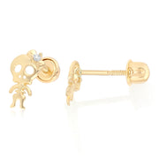 14K Gold CZ Gothic Punk Rock Skull Skeleton Stud Earrings