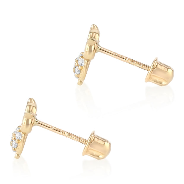 14K Gold CZ Beautiful Owl Lucky Charm Stud Earrings