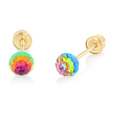 14K Gold Rainbow Round Stud Earrings for child/women/little girl