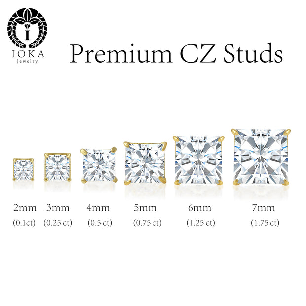 affordable everyday wear cubic zirconia gold stud earrings in various sizes they suit all outfits perfect wear of formal office party glam and date nights perfect replacement for expensive diamond studs comfortable earrings for all skin types