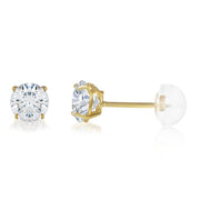 14K Gold Round Solitaire Cubic Zirconia CZ Stud Push Back Earrings