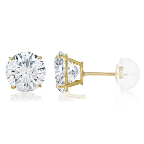 14K Gold Round Solitaire CZ Stud Earrings