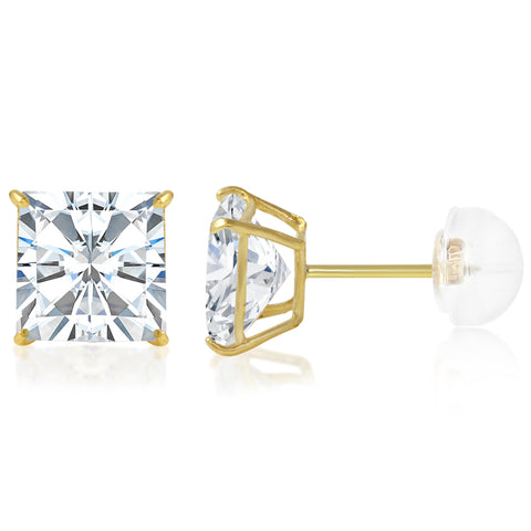 14K Gold Square Solitaire Princess Cut CZ Stud Earrings