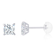 14K Gold Square Solitaire Princess Cut Cubic Zirconia CZ Stud Push Back Earrings