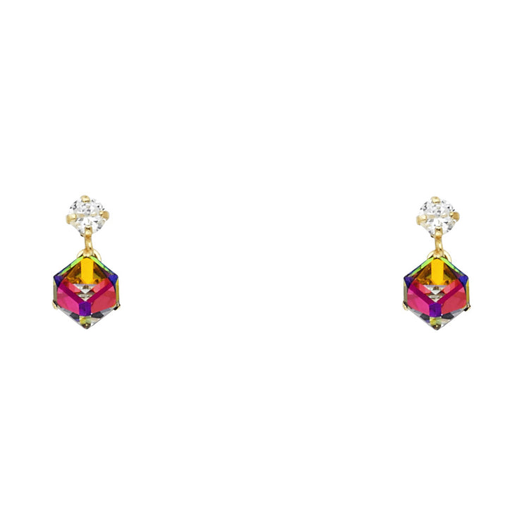 14K Gold Multi Color Cube Stud Earrings