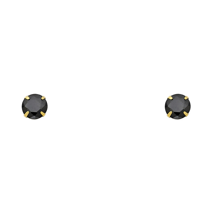 14K Gold CZ Round Stud Earrings (5mm)
