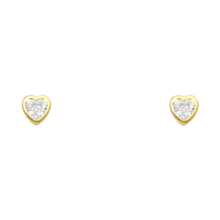 14K Gold Birthstone Heart Cut CZ Stud Earrings (5mm)