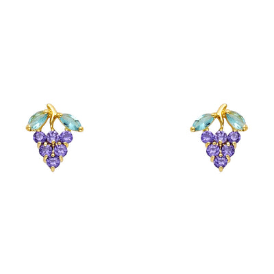 14K Gold CZ Grape & Leaf Stud Earrings