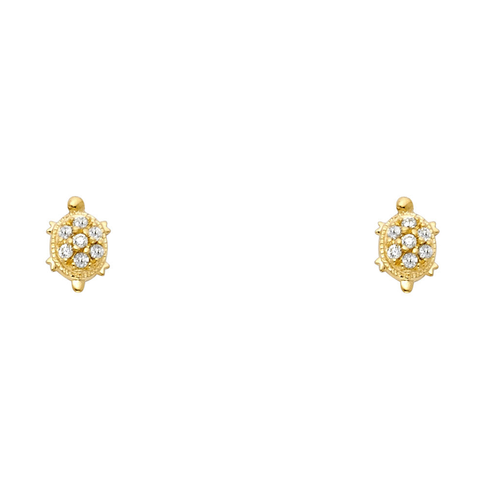 d57e78ea2 14K Yellow Gold OR White Gold Round Cut CZ Lucky Charm Turtle Stud Screw  Back Earrings