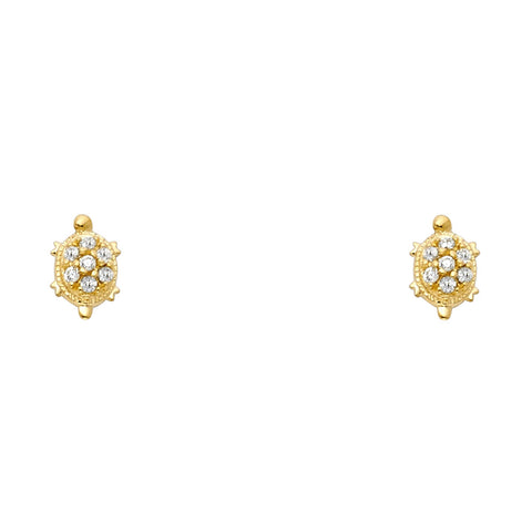 14K Yellow Gold OR White Gold Round Cut CZ Lucky Charm Turtle Stud Screw Back Earrings