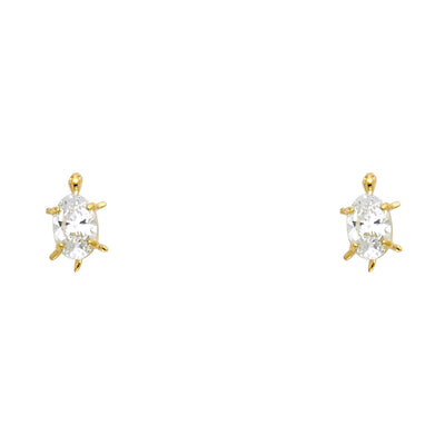 14K Gold Oval Cut CZ Turtle Lucky Charm Stud Earrings