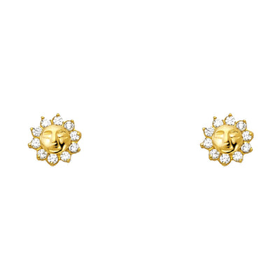 14K Gold CZ Sun Stud Earrings