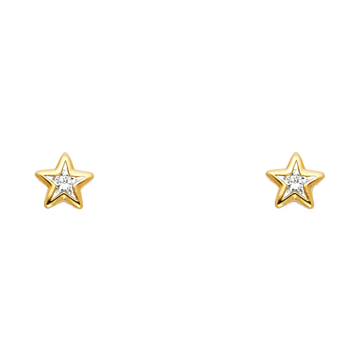 14K Gold CZ Star Stud Earrings