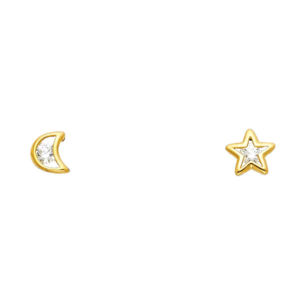 14K Gold CZ Moon and Star Stud Earrings