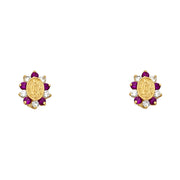14K Gold CZ Guadalupe Stud Earrings
