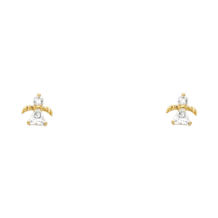 14K Gold CZ Angel Stud Earrings