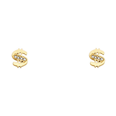 14K Gold CZ Dollor $ Stud Earrings
