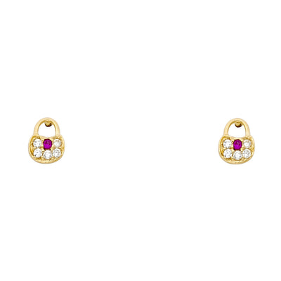 14K Gold CZ Lock Stud Earrings