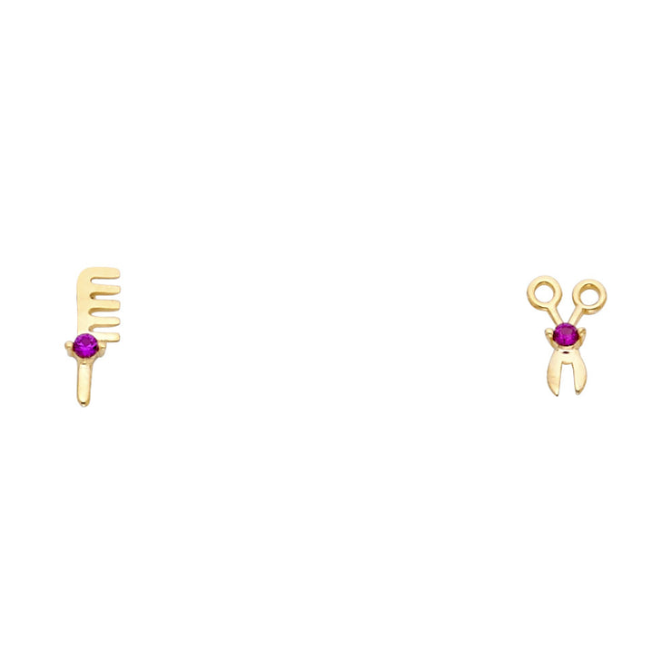 14K Gold CZ Scissors & Comb Earrings