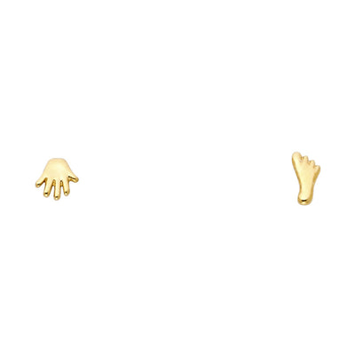 14K Gold Small Hand & Foot Earrings