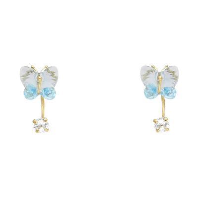 14K Gold Crystal Curved Butterfly Stud Earrings