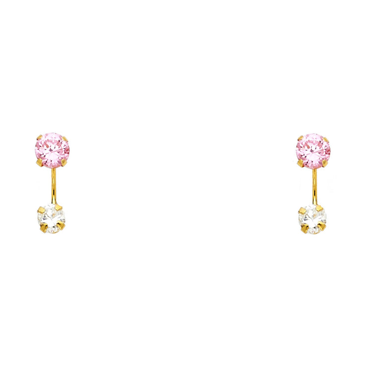 14K Gold CZ Round Cut Solitaire Stud Earrings