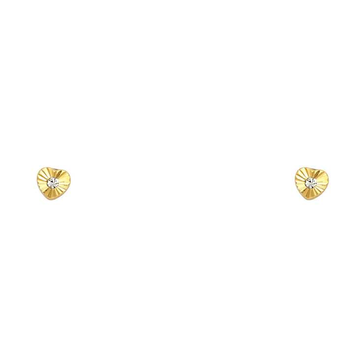 14K Gold CZ Heart Cut Stud Earrings