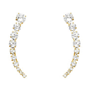 14K Gold CZ Ear Crawler - Cuff Earrings