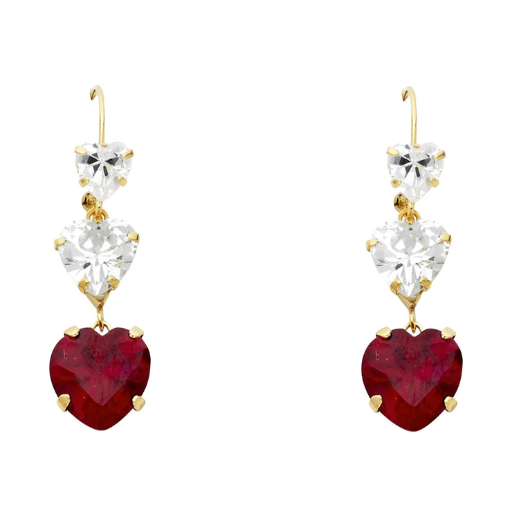 14K Gold CZ Heart Cut Hanging Earrings