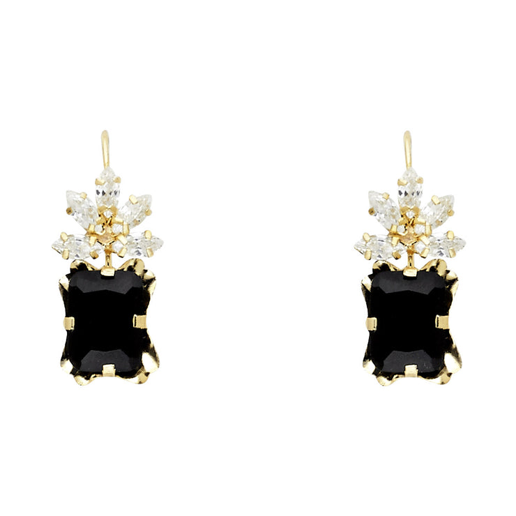 14K Gold CZ Hanging Earrings