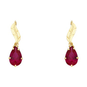 14K Gold CZ Leaf Hanging Earrings