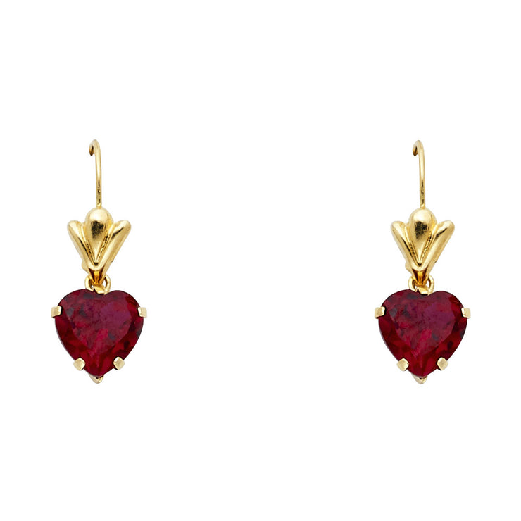 14K Gold CZ Heart Hanging Earrings