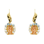 14K Gold CZ Guadalupe Hanging Earrings