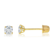 14K Gold Round Solitaire Cubic Zirconia CZ Stud Screw Back Earrings