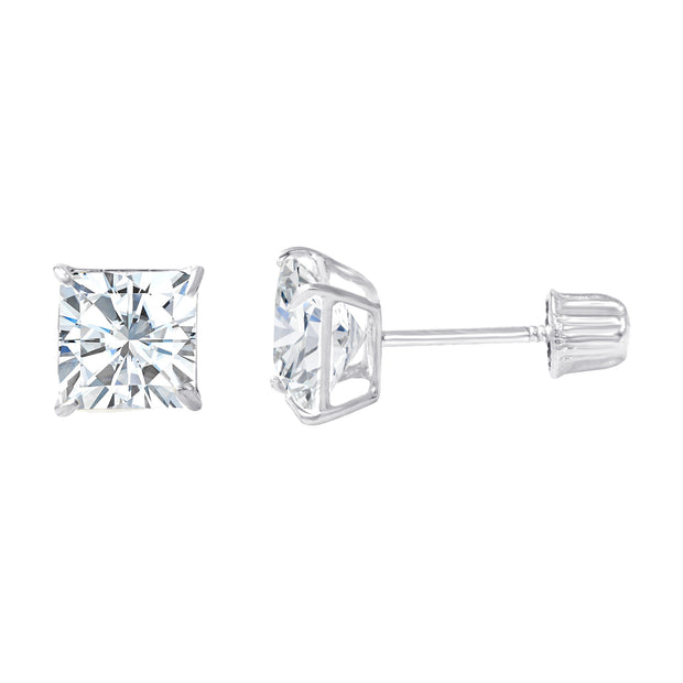 14K Gold Square Solitaire Princess Cut Cubic Zirconia CZ Stud Screw Back Earrings