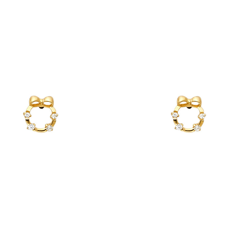 14K Gold CZ Cricle and Bow Stud Earrings