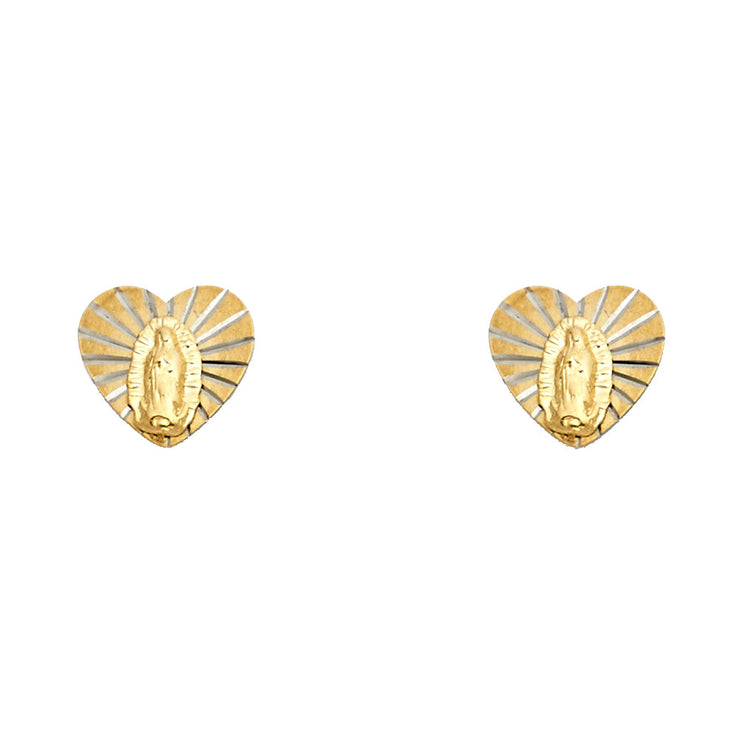 14K Gold Heart Guadalupe Stud Earrings