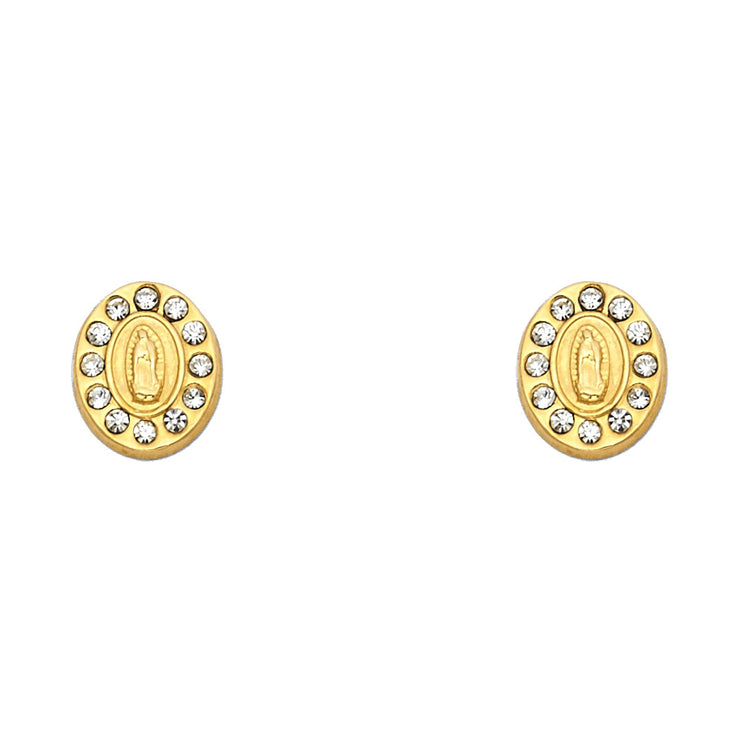14K Gold CZ Oval Guadalupe Stud Earrings