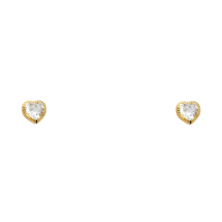 14K Gold CZ Heart Stud Earrings (4mm)