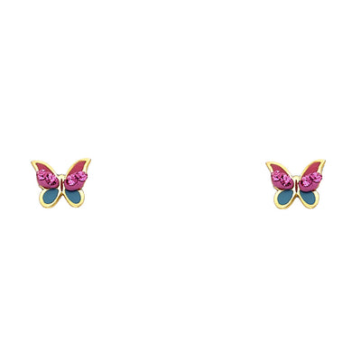 14K Gold Crystal Butterfly Stud Earrings